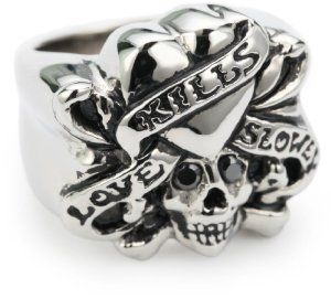 "Ed Hardy ""Love Kills Slowly"" Stainless Steel Cubic Zirconia Ring, Size 7"