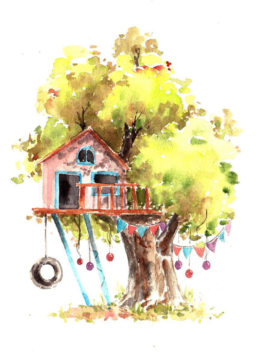 Watercolours Paint Whimsical Tree Houses Watercolor Paintings Art