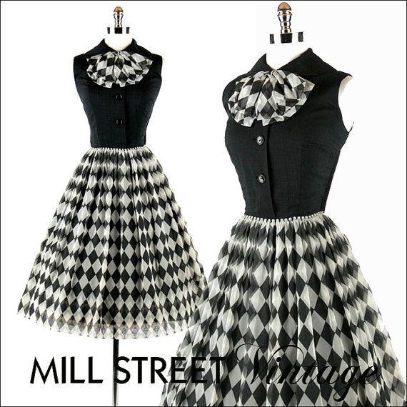 Vintage 1950s 50s Dress Black White Harlequin Plaid