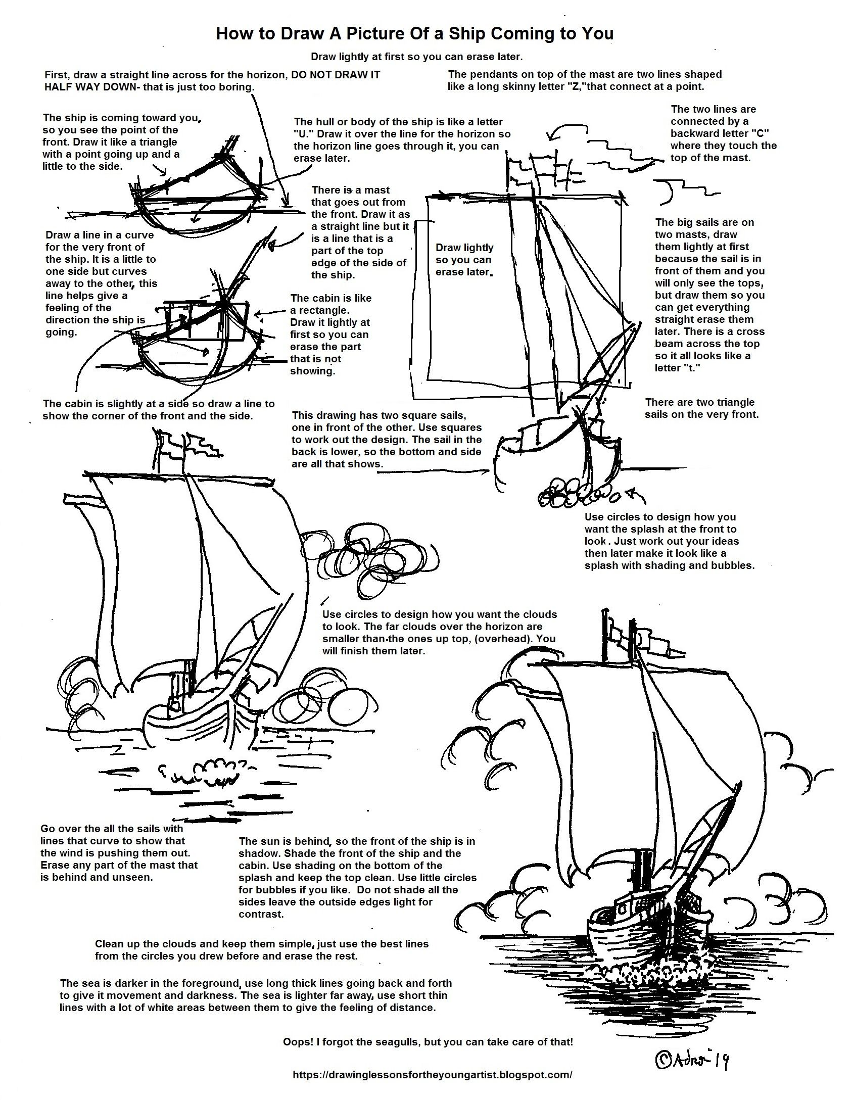Printable How To Draw A Picture Of A Ship Coming To You