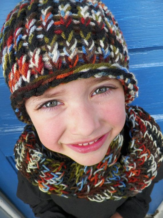 Young Boys Hat and Scarf Set Knit Multicolor by jamiesierraknits, $20.00