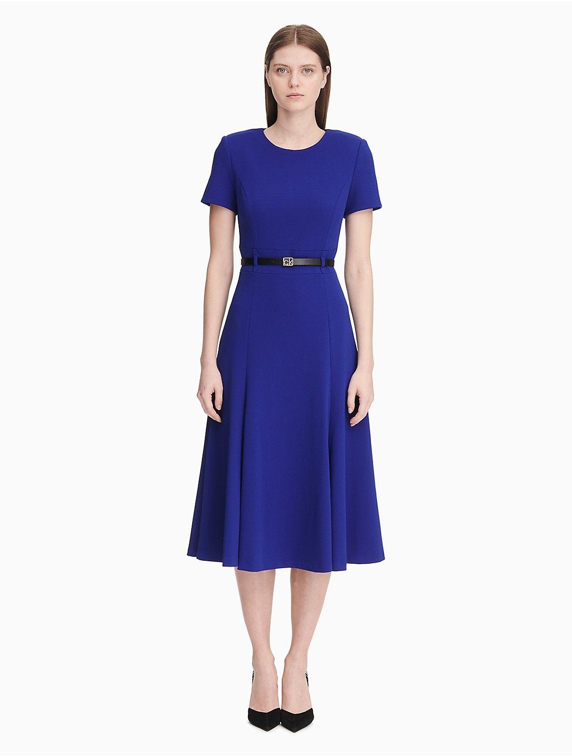 Belted Short Sleeve A Line Dress Em 2019 Vestidos