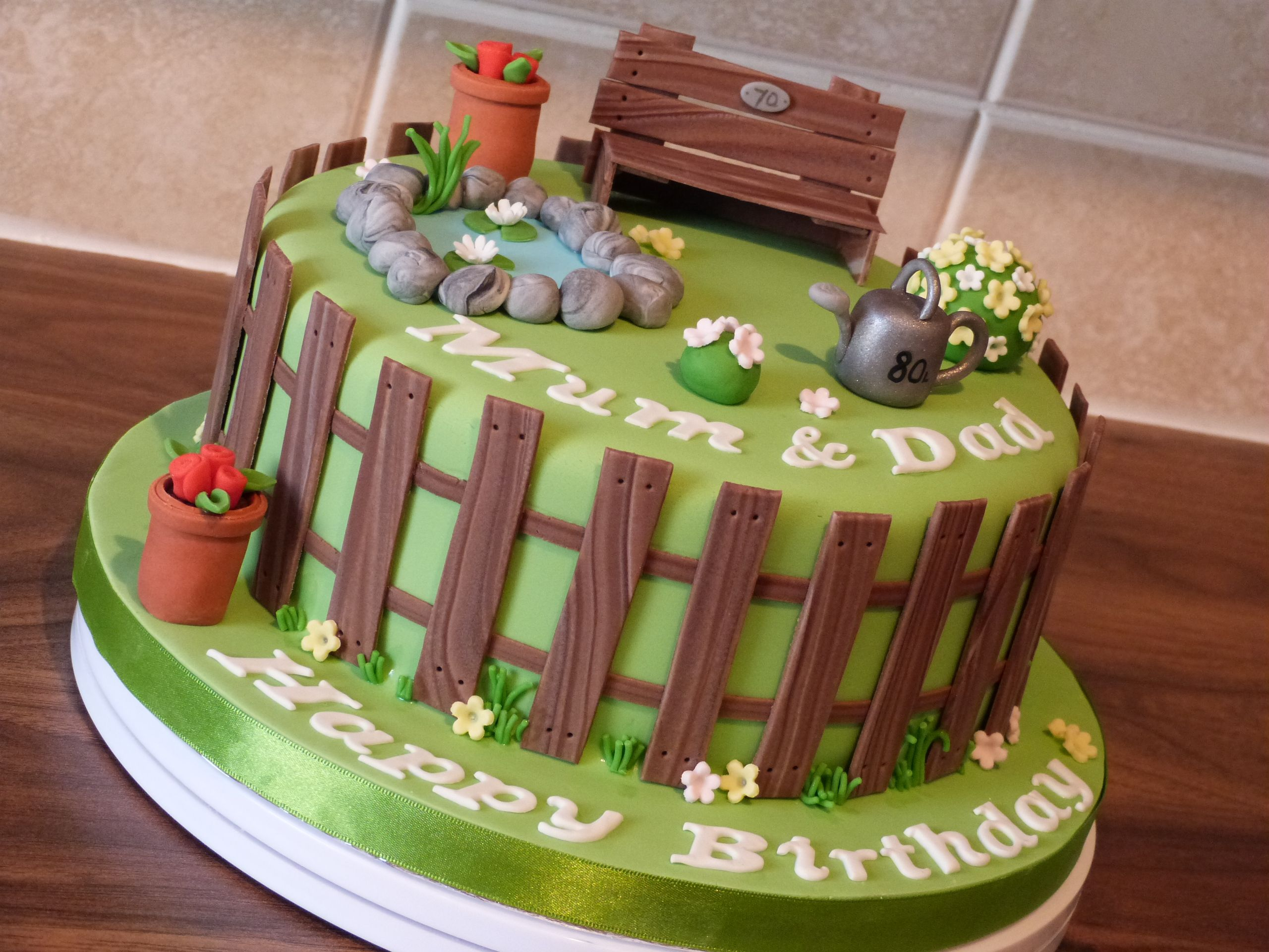 Gardening Cake With A Wooden Fence Bench An A Pond With Lillie Pads Farm Birthday Cakes Retirement Cakes Garden Birthday Cake