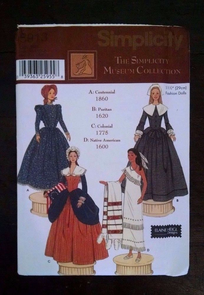 """SIMPLICITY 5913 OOP 11½"""" Fashion Doll Museum Collection Dresses Pattern"""