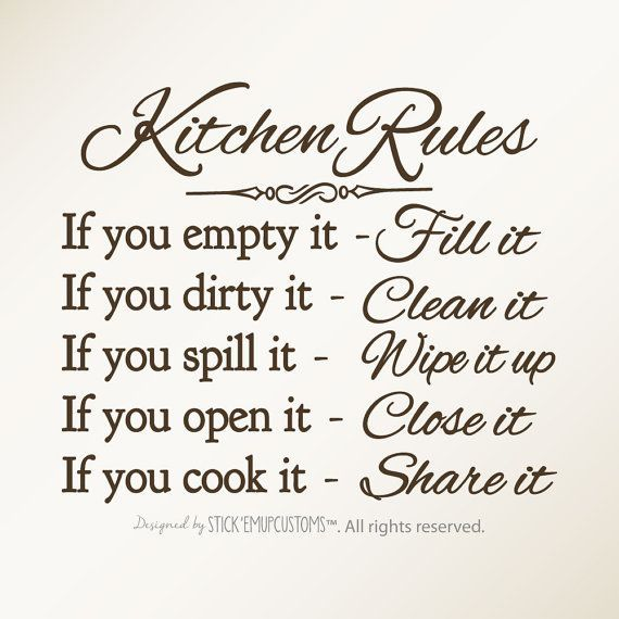 Wall Sign Decor Fair Kitchen Rules  Wall Art Decal  Dining Room Decor  Kitchen Decor 2018