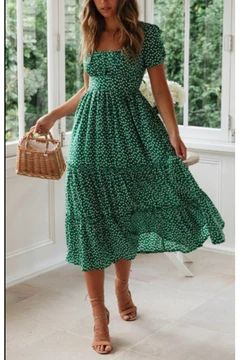 Photo of New square collar puff sleeve floral dress