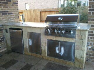 Dry Stack Stone Outdoor Kitchen Patio Build Outdoor Kitchen Covered Patio