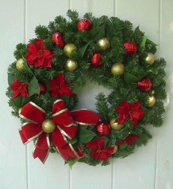 christmas wreath evergreen wreath xmas wreath by doordecorshop - How To Decorate Artificial Christmas Wreath