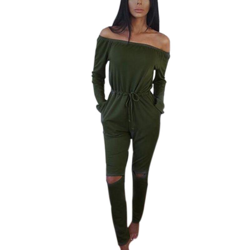 2016 Herfst Slash Hals Lange Broek Pak Plus Size Vrouwen Rompertjes Jumpsuit Een Stuk Bodysuit LX220