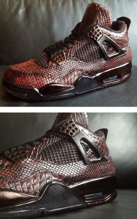 "7aeb7ae534a Here is a detailed look at a pair of custom Air Jordan IV 4 ""Eiffel Tower""  Snake Skin Sneakers designed by Revisited"
