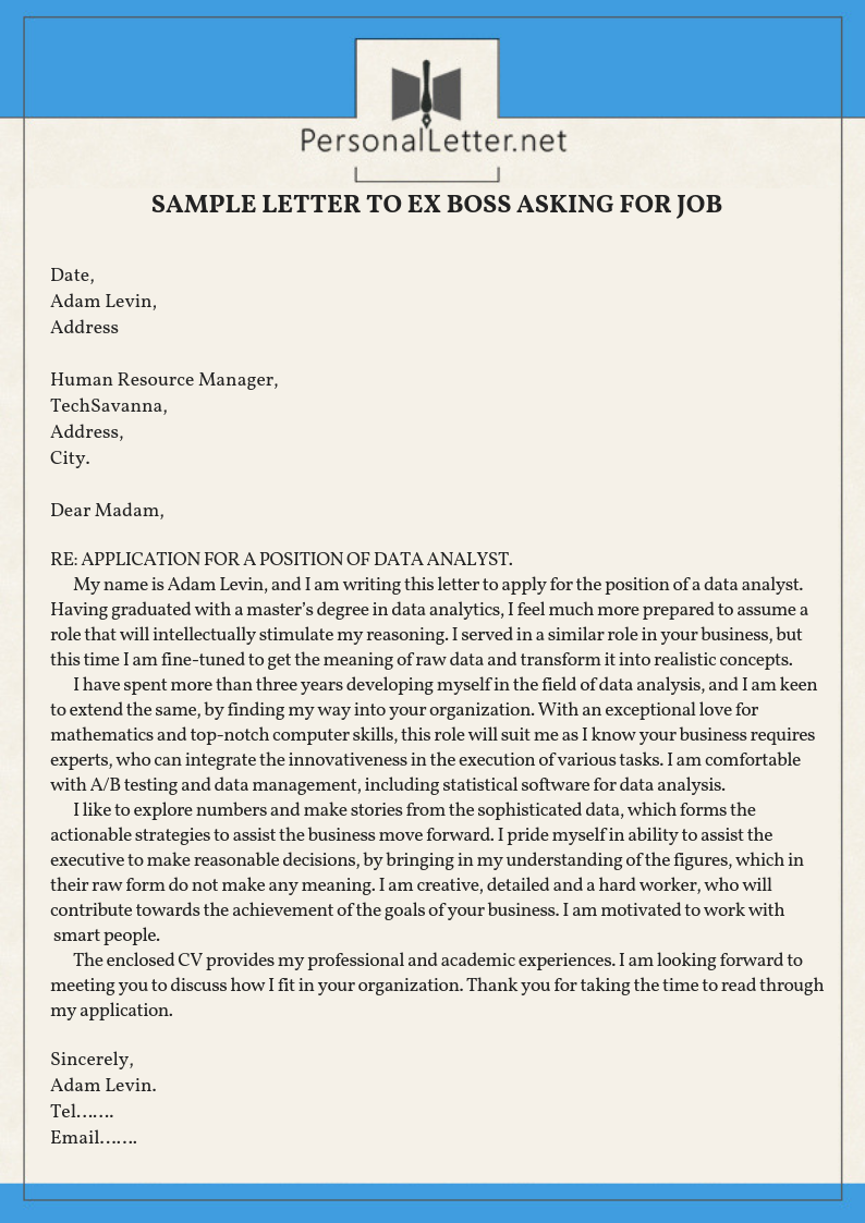 Professional Sample Letter To EX Boss Asking For Job   Lettering ...