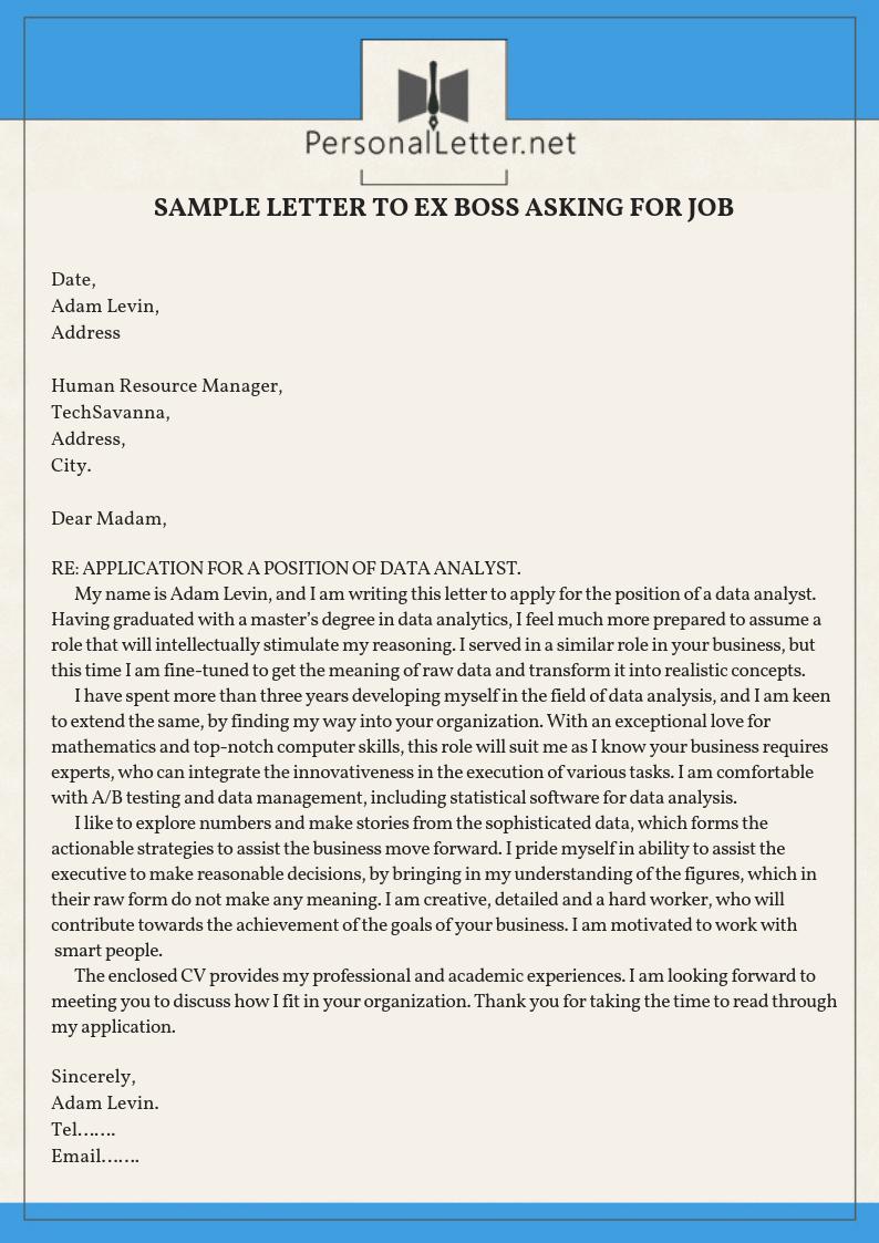Professional Sample Letter To EX Boss Asking For Job  Lettering