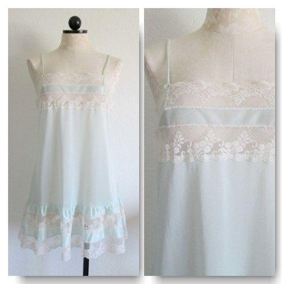 Mint Green Babydoll Vintage Lingerie Nightgown VintageHag.com