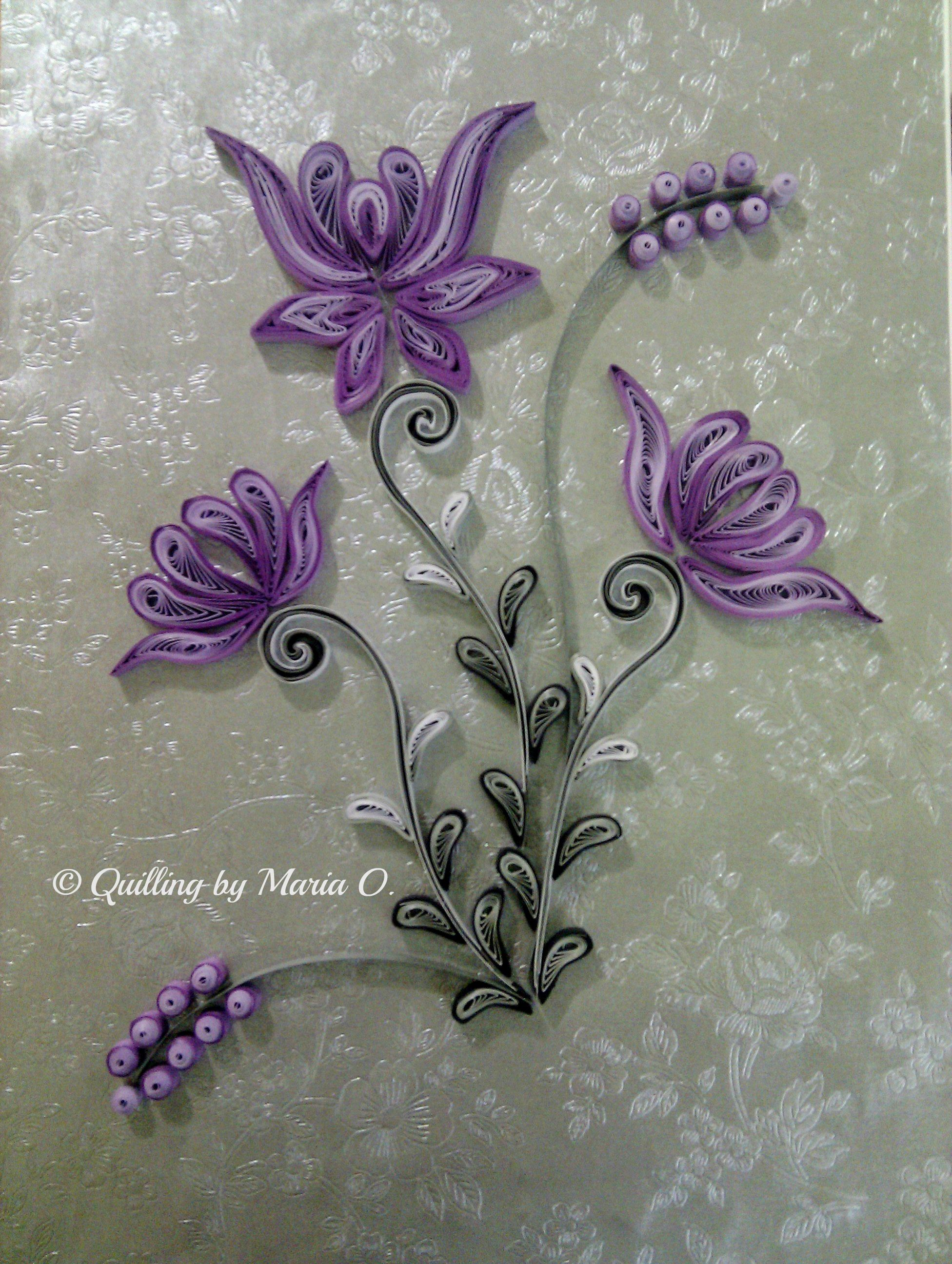 Purple frame quilled by maria oroian my quilling for Paper quilling designs