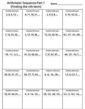 Arithmetic Sequence Worksheet Finding The Nth Term Arithmetic Sequences Arithmetic Sequence Writing