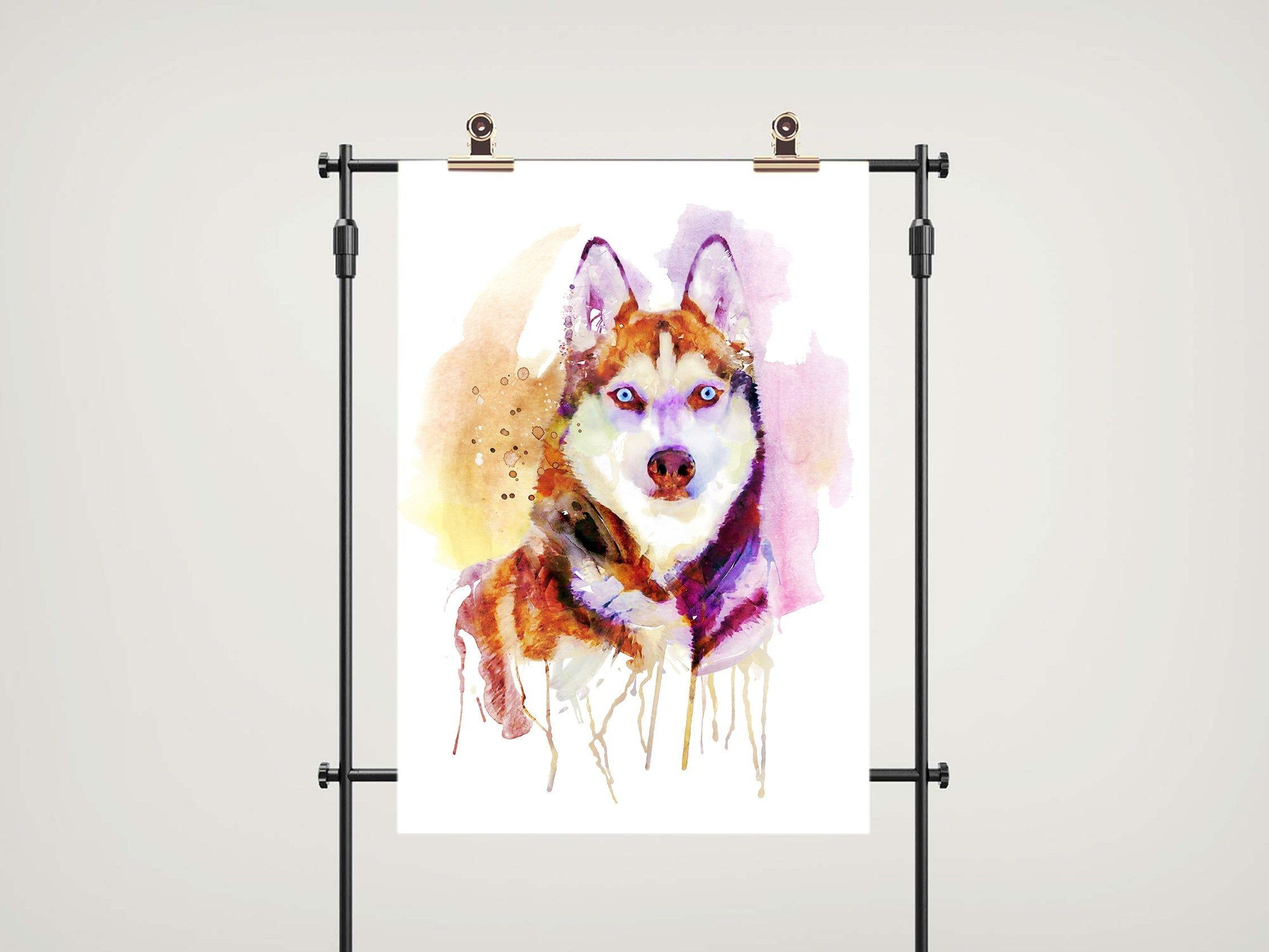 Downloadable Watercolor Portrait Of A Husky Dog Head Gift Under