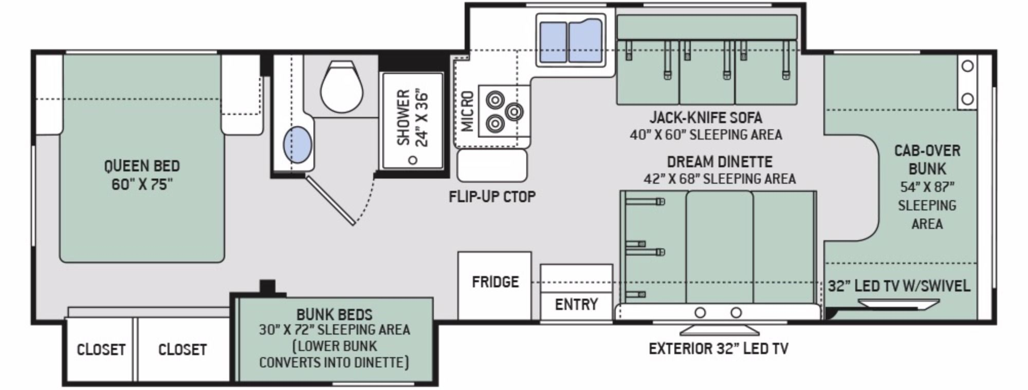 2017 Thor Freedom Elite 30fe Stock 1331054 Floor Plan This Is Our Dream Camper Rv Floor Plans Floor Plans Camper Flooring
