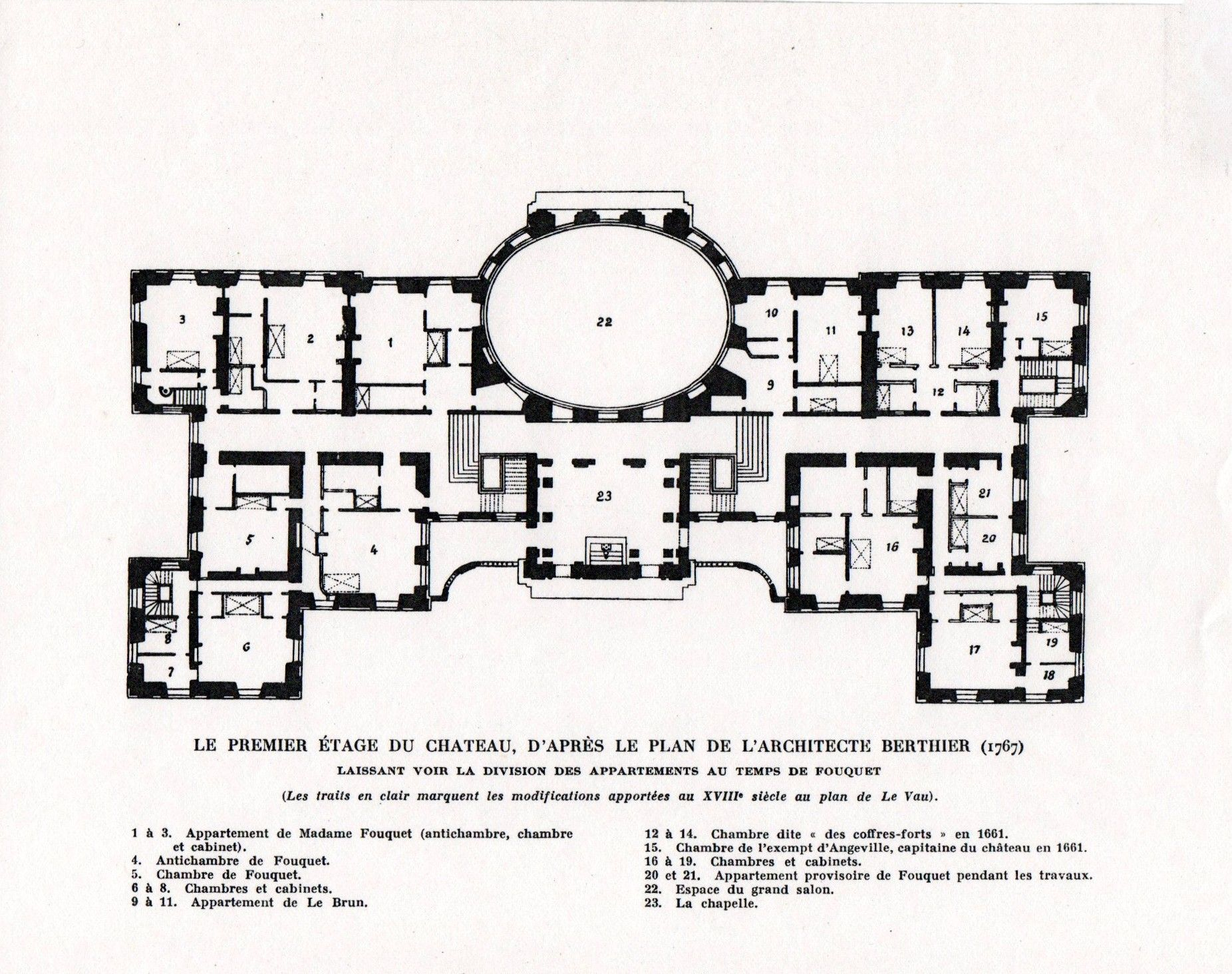 Chateau De Vaux Le Vicomte First Floor Plan Architectural Floor Plans Mansion Plans Vintage House Plans