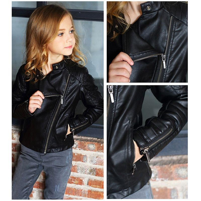 Leather Jackets For Teenagers Winter Girls Motorcycle Coat Pu Faux Leather Jacket Asymmetric Zip Children Outfit 3 14 Years
