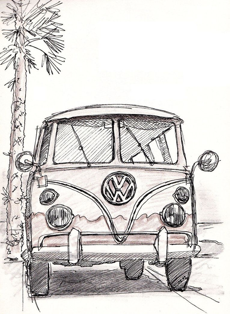 Sketch vw muse in 2019 bus art art drawings pencil drawings