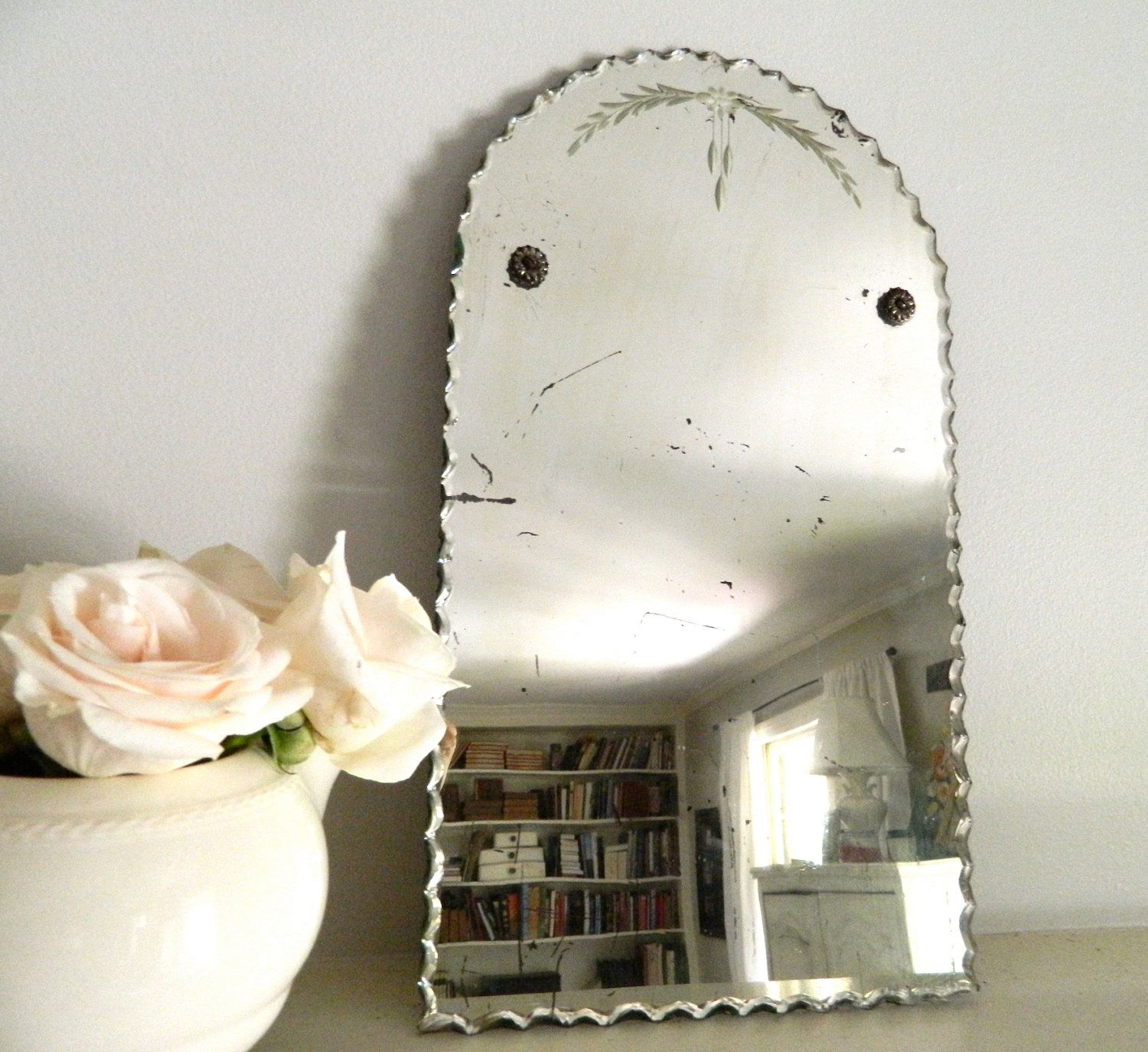 Reserved Vintage Etched Beveled Mirror Frameless