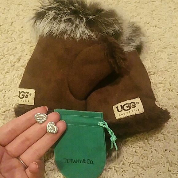 Tiffany & Co earings and UGG gloves bundle Purchased these from other poshers. Never worn either one. Price reflects authenticity. Earings are real silver but they are thin and the bag is darker then the real tiffany bag. Earings are thin. I do trades and will negotiate price. This is a bundled item but I will sell separately if asked. UGG Accessories