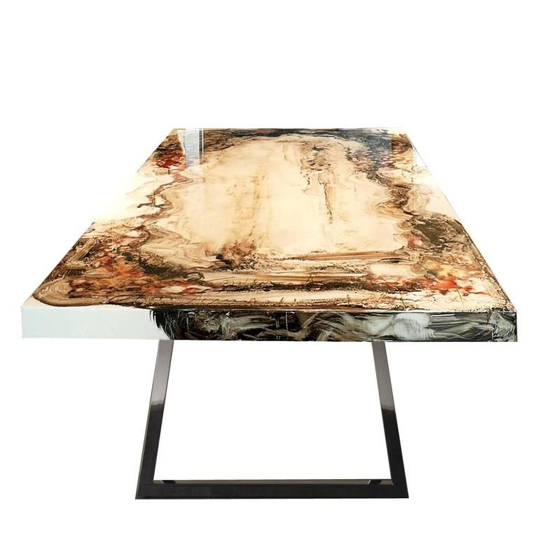 1stdibs Table Artistica Hand Painted Lacquered Solid French
