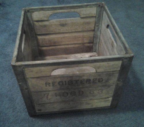 Vintage Hood Wood And Metal Milk Box Crate Wood And