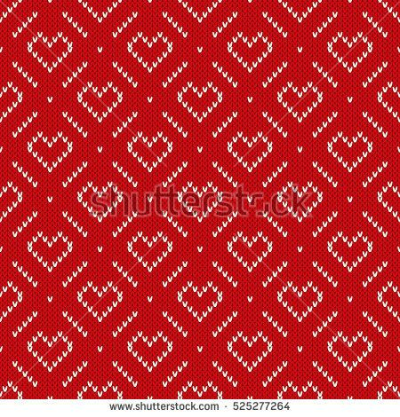 Winter Holiday Knitted Pattern With Hearts And Snowflakes