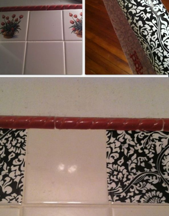 Cover Un Liked Bathroom Tiles With Pretty Contact Paper For A Diy Makeover Diy Makeover Wall Treatments Contact Paper