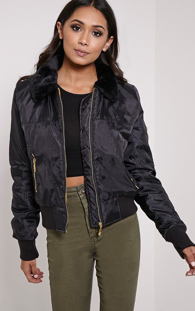 collar-bomber-jacket | Bomber Jacket | Pinterest | Faux fur collar ...