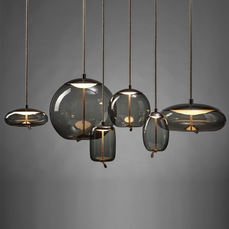 Modern Led Pendant Lights Wrought Iron Glass Round Ball Brass Rod Kitchen Hanging Lamps Living In 2020 Hanging Light Fixtures Pendant Light Fixtures Led Pendant Lights
