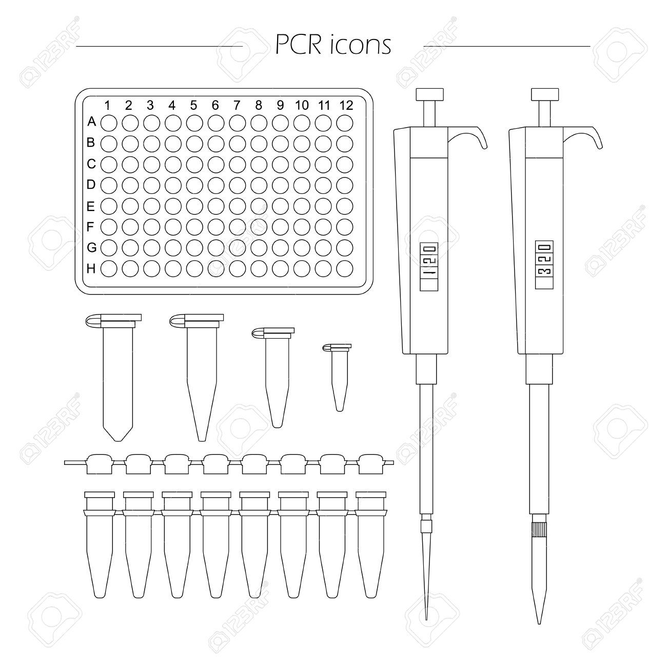 Pcr Outline Icon Set Of 96 Well Plate Pipette Eppendorf And Royalty Free Icon Set Scientific Experiment Study Journal 96 well plate template pdf