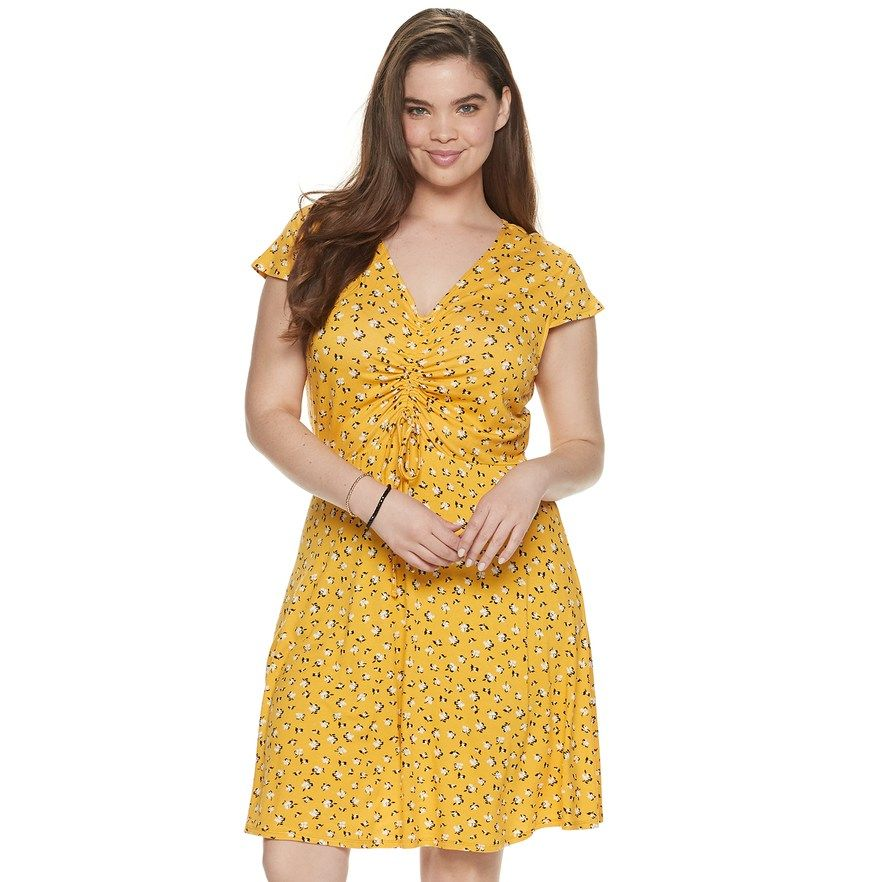 Juniors\' Plus Size Mudd® Short Sleeve Cinch Front Dress ...