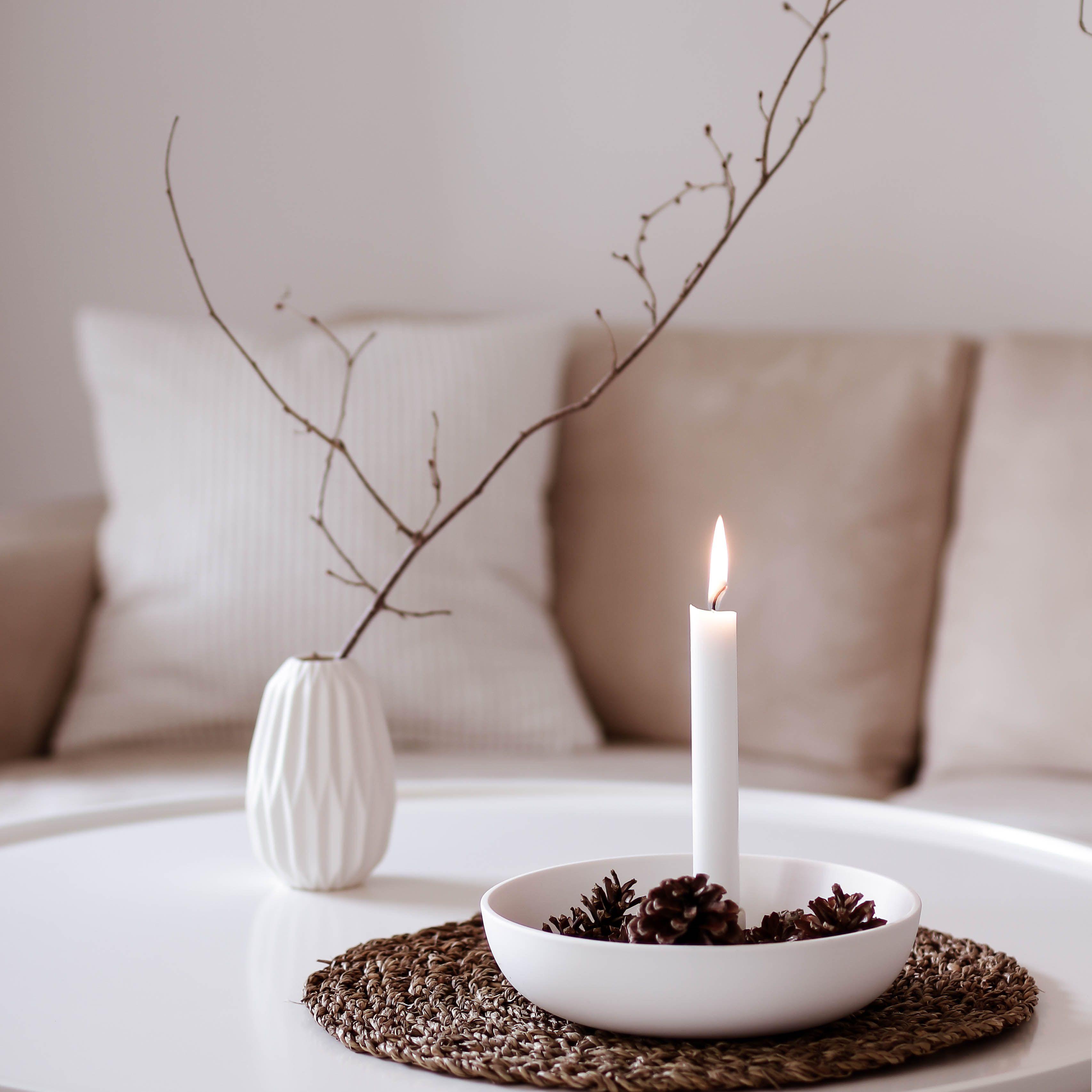 Wohnzimmer Dekoration Kerzenhalter natürlich beige in 10  Deko