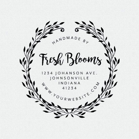 Floral Wreath Business Address Stamp Business Rubber Stamp