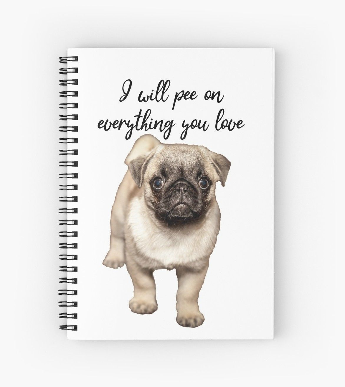 New Puppy Pug Potty Training Trials Spiral Notebook By