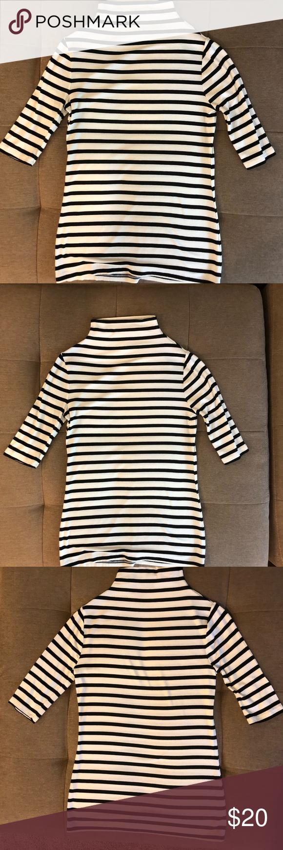 ea302740c02ef2 Black and white stripes turtleneck neck top Black and white stripes turtleneck  White House Black Market Tops