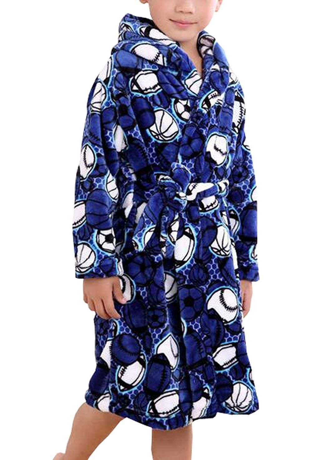 Suplove Boys Flannel Children's Robe Coral Velvet Pajamas Baby Bathrobes -  Blue - CB186T7G30U | Childrens robes, Baby bath robe, Clothes