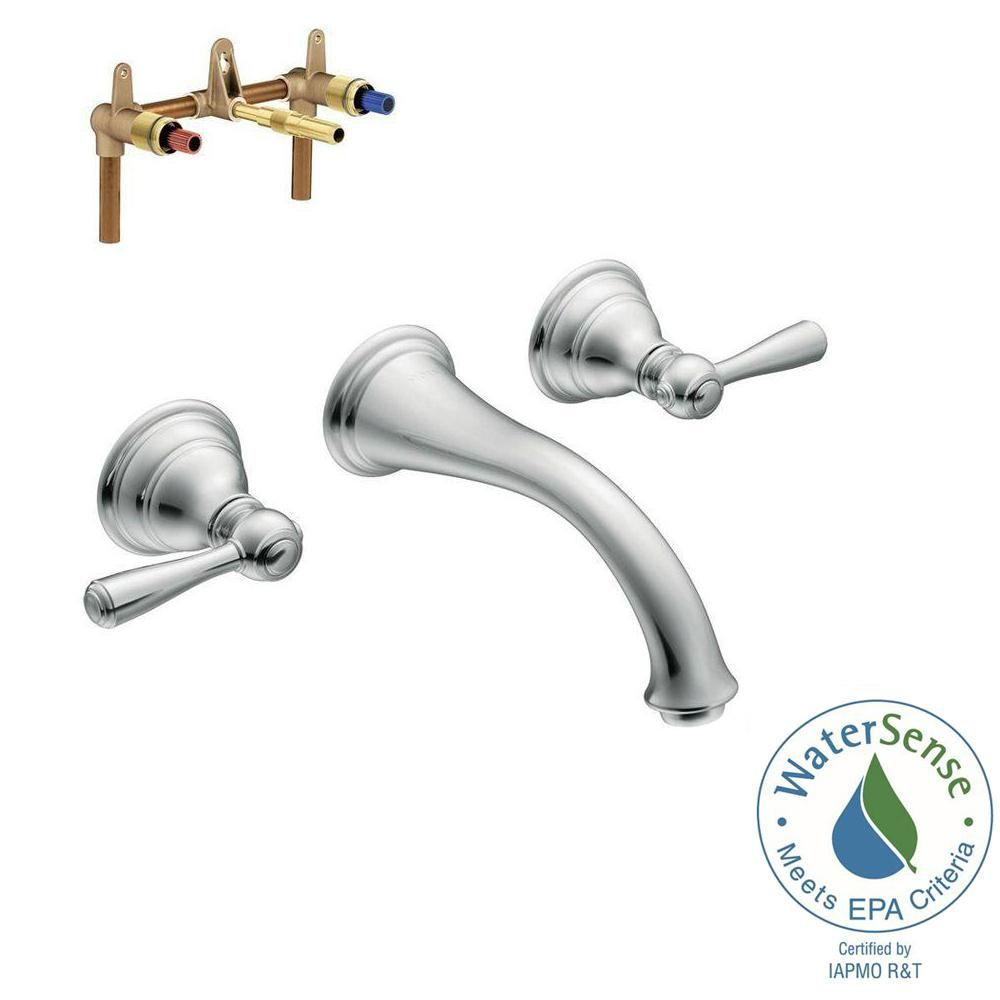 Moen Kingsley Wall Mount 2 Handle Low Arc Bathroom Faucet Trim Kit With Valve In Chrome Low Arc Bathroom Faucet Wall Mount Faucet Bathroom Moen Shower Fixtures
