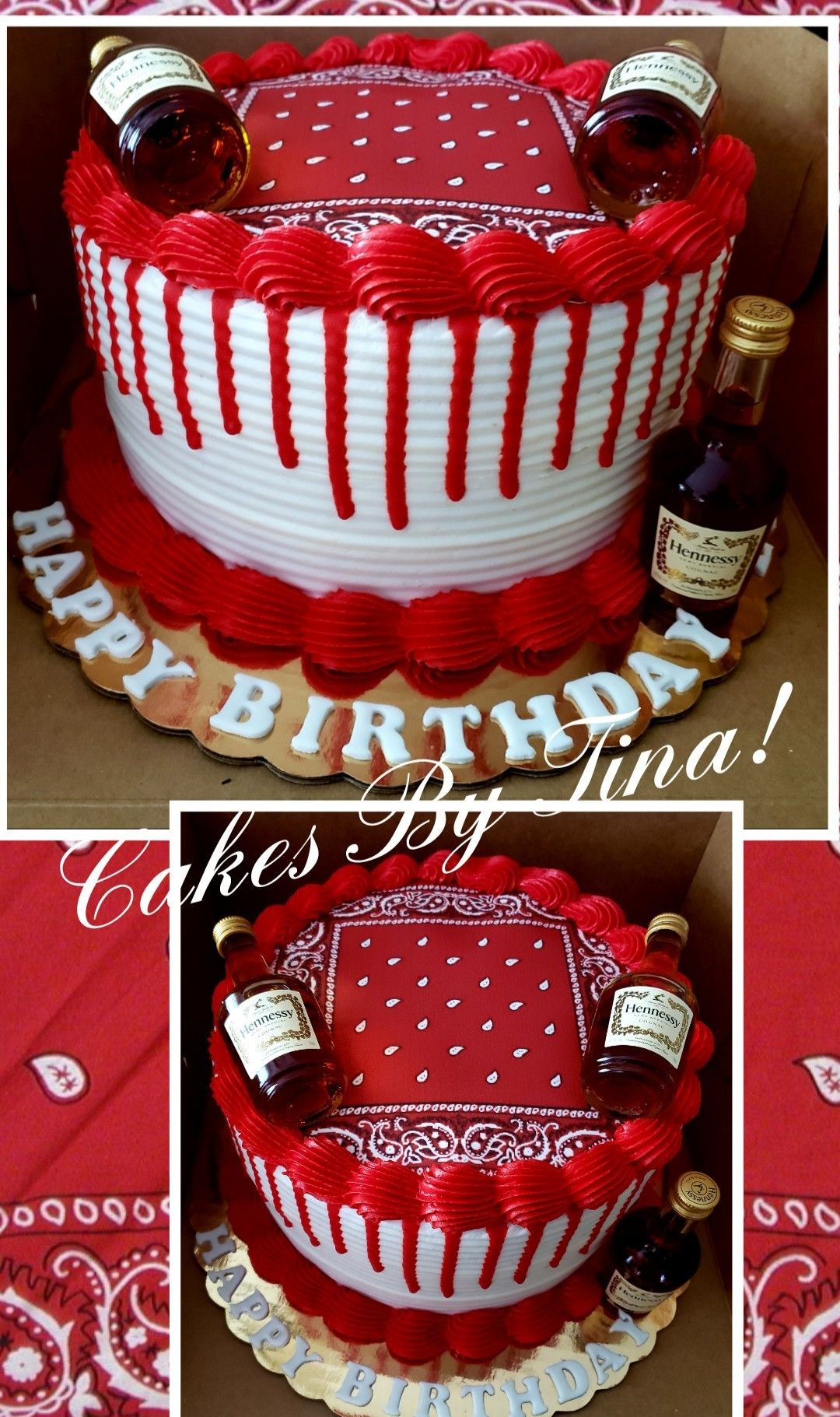 Red Bandana And Henny Birthday Cake In 2020 Baby Birthday Cakes Red Birthday Cakes Red Cake
