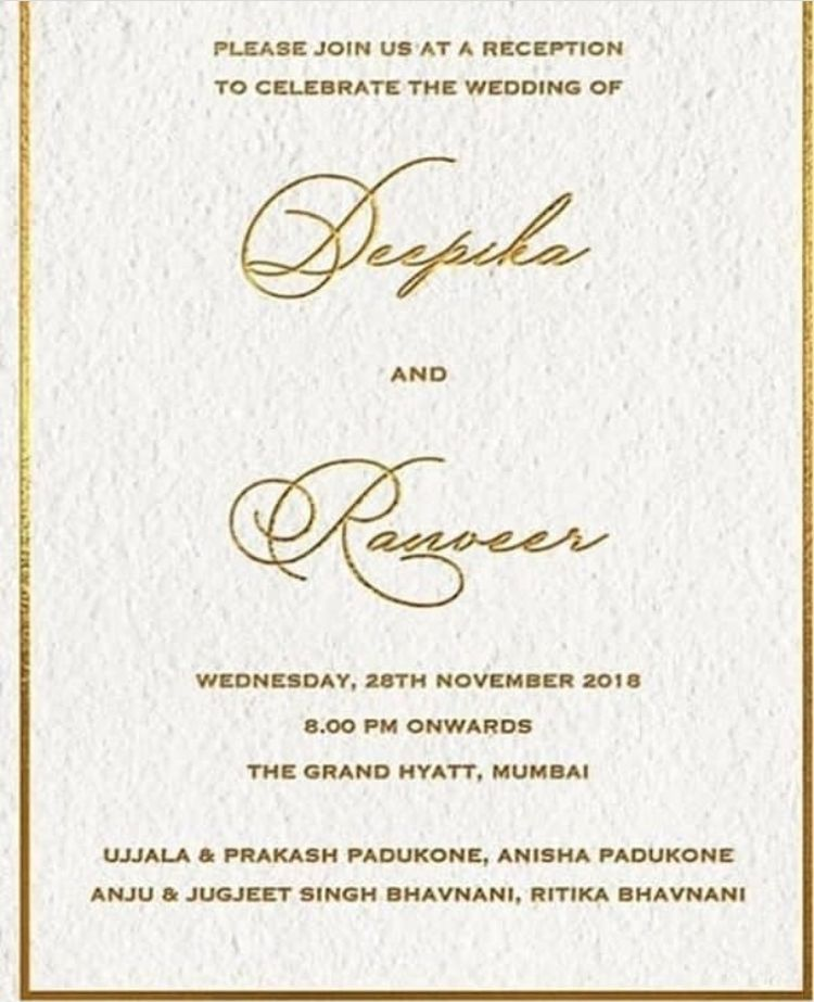 Deepika Padukone Ranveer Singh To Host Grand Wedding Reception In Mumbai Details Inside Hungryboo Wedding Invitation Card Design Wedding Reception Invitations Reception Invitations