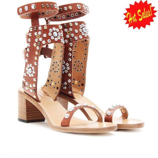 New Isabel Marant Charlotte Elvis Tan Leather Studded Sandals Isabel6737