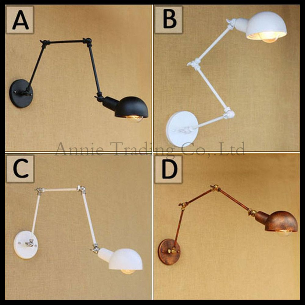 Black white Rust Wall sconces lamp 3 swing arms adjustable study ...