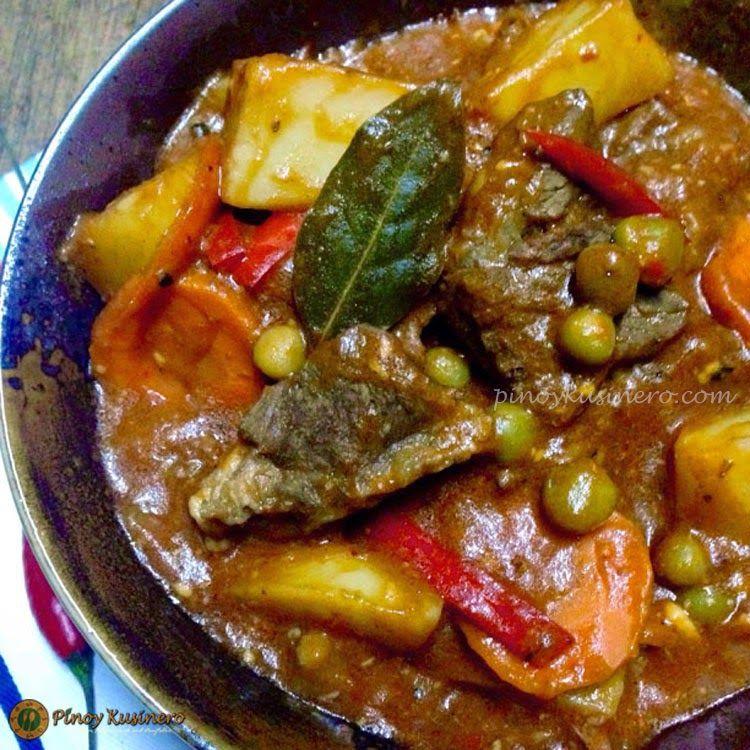 Beef Caldereta/ Kalderetang Baka (Spicy Beef Stew) | Pinoy Kusinero