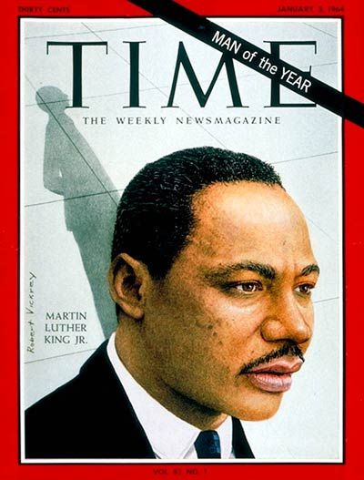 1964: TIME names civil rights leader Martin Luther King Jr. its Man of the Year. He is the first African American chosen for the title.