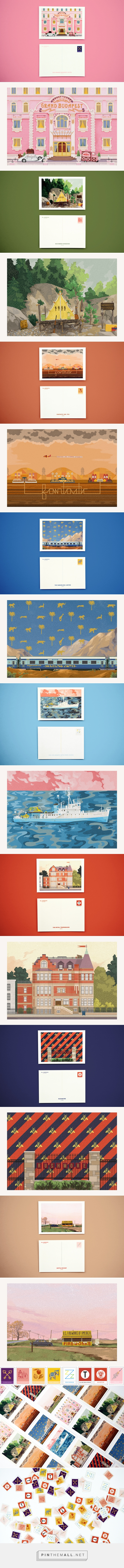 Wes Anderson Postcards by: Mark Dingo Francisco on Behance