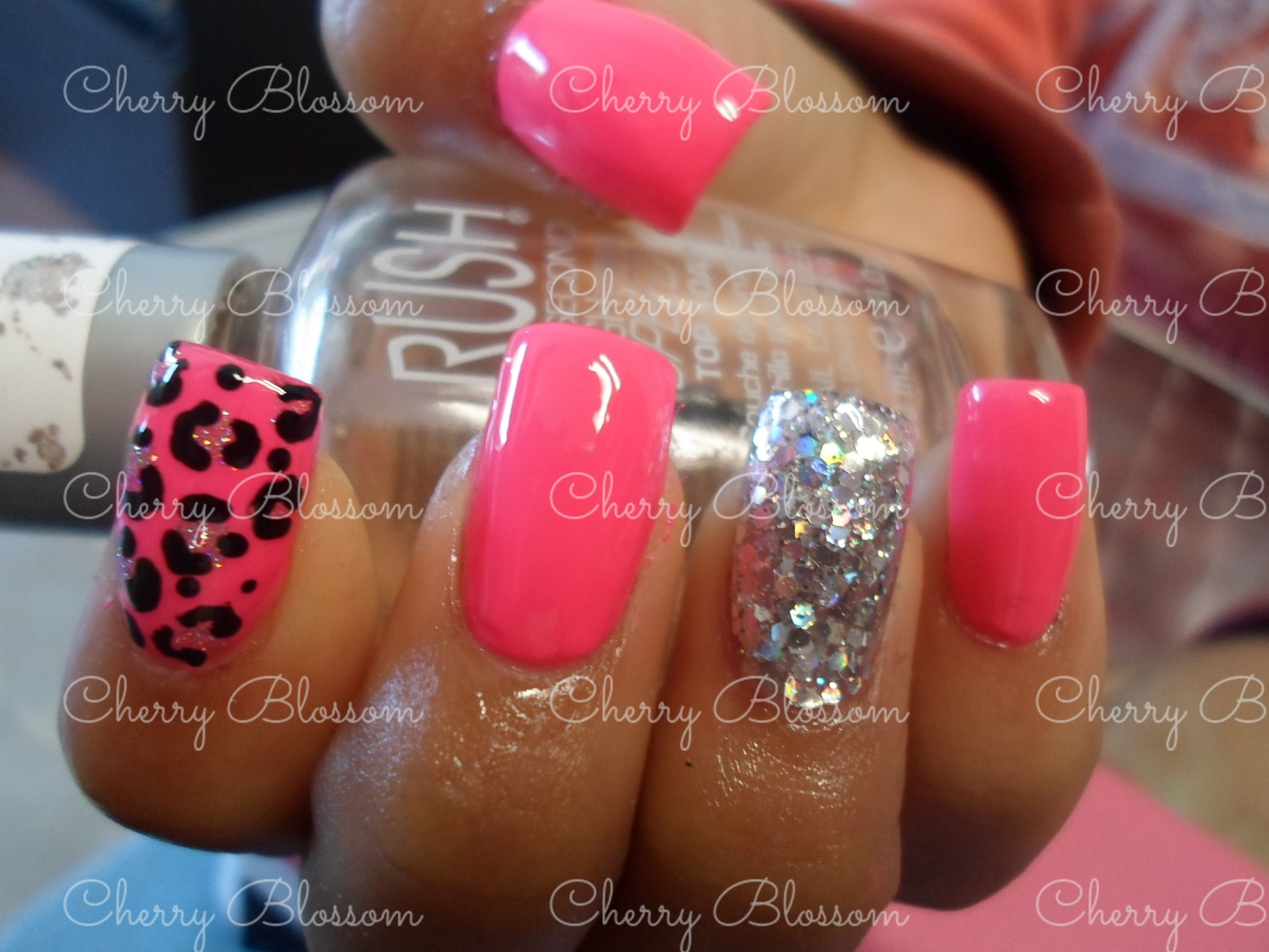cherry blossom mva citas wspp nails uas acrilicas rosa glitter plata