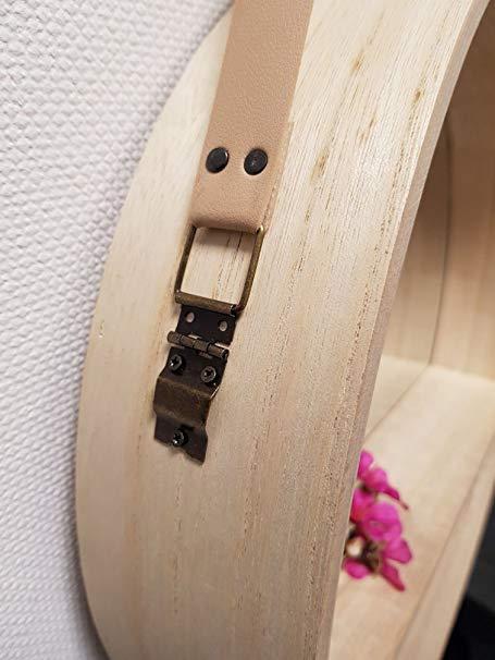 Wandspiegel Rund 40 Cm Mit Kunstleder Band Zum Aufhangen Holz
