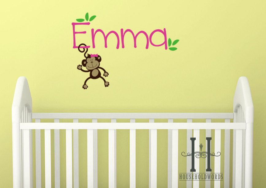 Girls Monkey Wall Decal Name Monogram with hair bow, baby Nursery ...